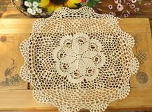 DIY cotton placemat cup coaster mug holder kitchen HOT spoon table place mat cloth lace round Crochet trivet doily dining pad
