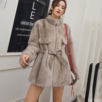 LVCHI 2019 Winter Mink Fur Coat Real Fur Coats Women Thicken Full Pelt Striped Mandarin Collar Full Sleeve Medium Mink Fur Coats