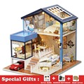 DIY Miniature Wooden Dollhouse SEATTLE Villa Cute Room with Dust Cover Big Doll House Toy Girl Birthday Gift Christmas Present