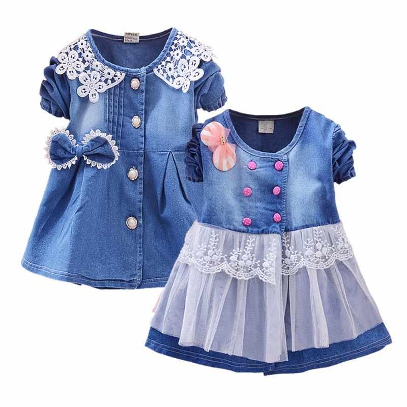 Платье с бантом и длинными рукавами для детей; сезон весна-осень; джинсовое кружевное Сетчатое кружевное в стиле пэчворк; платья для малышей