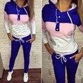 Moda a Cor da Costura Com Capuz Longo-Sleeved Camisola Casual Sportswear das Mulheres Two-Piece