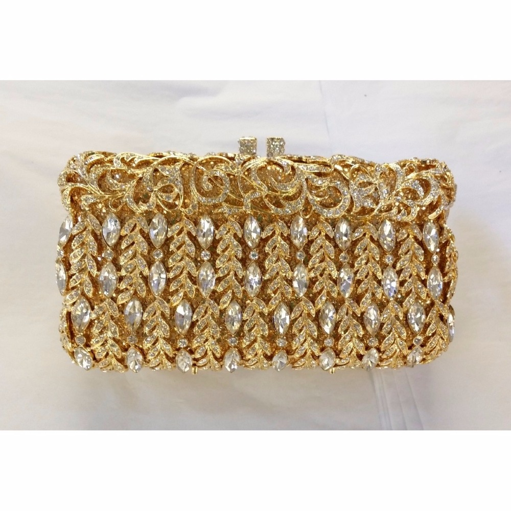 #8357 Crystal Flower Floral Bridal Party GOLD hollow Metal Evening purse clutch bag box handbag case