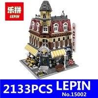 2133Pcs LEPIN 15002 Creators Cafe Corner Model Building Kits Blocks Kid Toy Gift Brinquedos