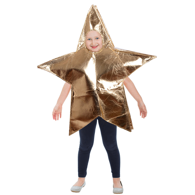 Child Star Costume Fancy Dress Costume Shiny Golden Christmas Star Open Face One Piece Jumpsuit Christmas  sc 1 st  AliExpress.com & Child Star Costume Fancy Dress Costume Shiny Golden Christmas Star ...