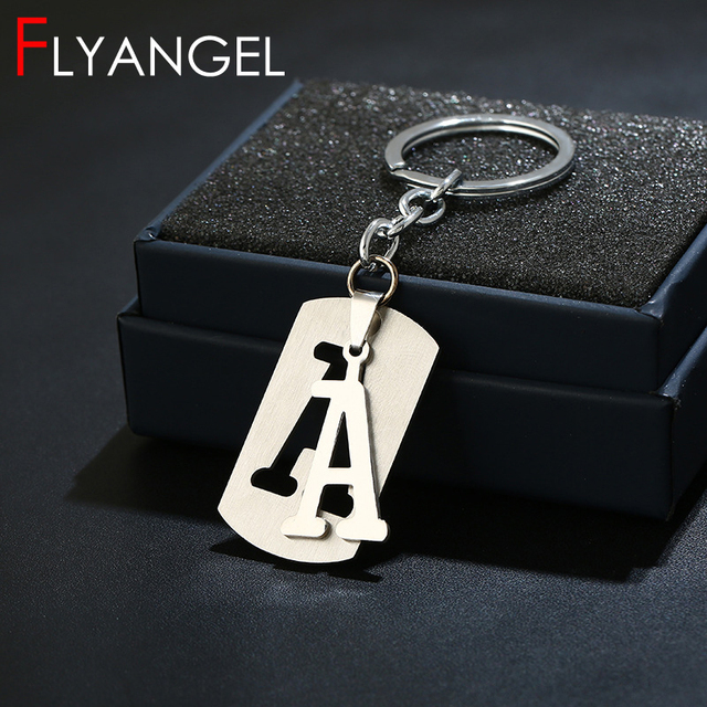 Stainless Steel Custom 26 Initials Keychain Dog Tag Alphabet Keyring For Men Boyfriend Workout Trendy Metal