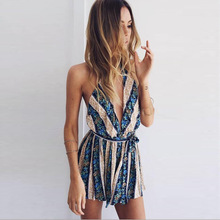 Charmed Deep V neck Women Rompers Lead Sexy Reveal Back Tassels Summer Jumpsuit Floral Stripe Printing