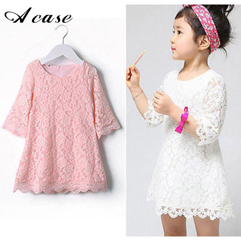 Little Girls Lovely Lace Dresses 2018 Kids Spring Summer 3 4 5 6 7 8 Years Children Girl Pink White Half Sleeve Holiday Clothes