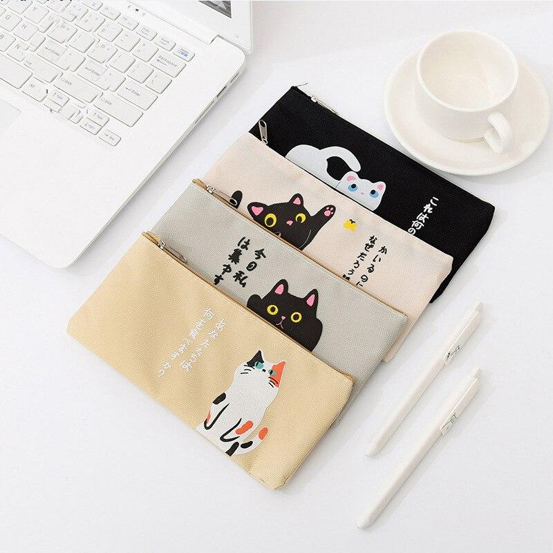 Kawaii Cat Oxford Cloth Pencil Case Office Student Pencil Cases Kalem Kutusu School Supplies Pen Box Astuccio Scuola