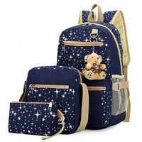 New European And American Style Three piece Suitcase Leisure College Bag Ms. Canvas Backpack Schoolbag Girls Backpack