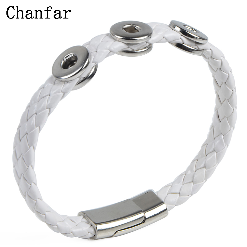 Chanfar 10 colors PU leather Bracelet Fit <font><b>12mm</b></font> <font><b>Snap</b></font> <font><b>Button</b></font> Armband <font><b>Jewelry</b></font> image