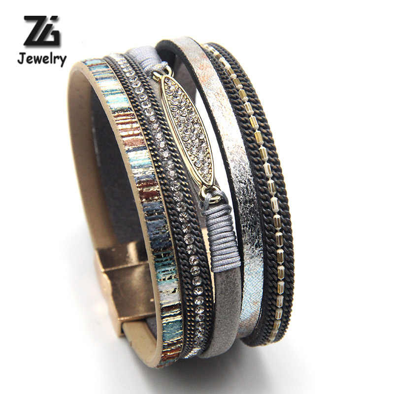 ZG Fashion Women Leather Bracelet Rhinestone Bar Charm Bohemian Leather Female Bracelets in 7 Colors