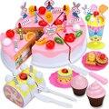 81 pcs Bolo de Aniversário Modelo DIY 3 + Crianças Crianças Cedo Educacional Clássico Brinquedo Fingir Jogar Cozinha Brinquedos De Plástico Alimentar para As Crianças