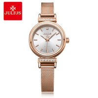 Julius Women Ladies Watches Luxury Simple Fashion for Women Stainless Steel Strap Genuine Brand Waterproof Gift Clock