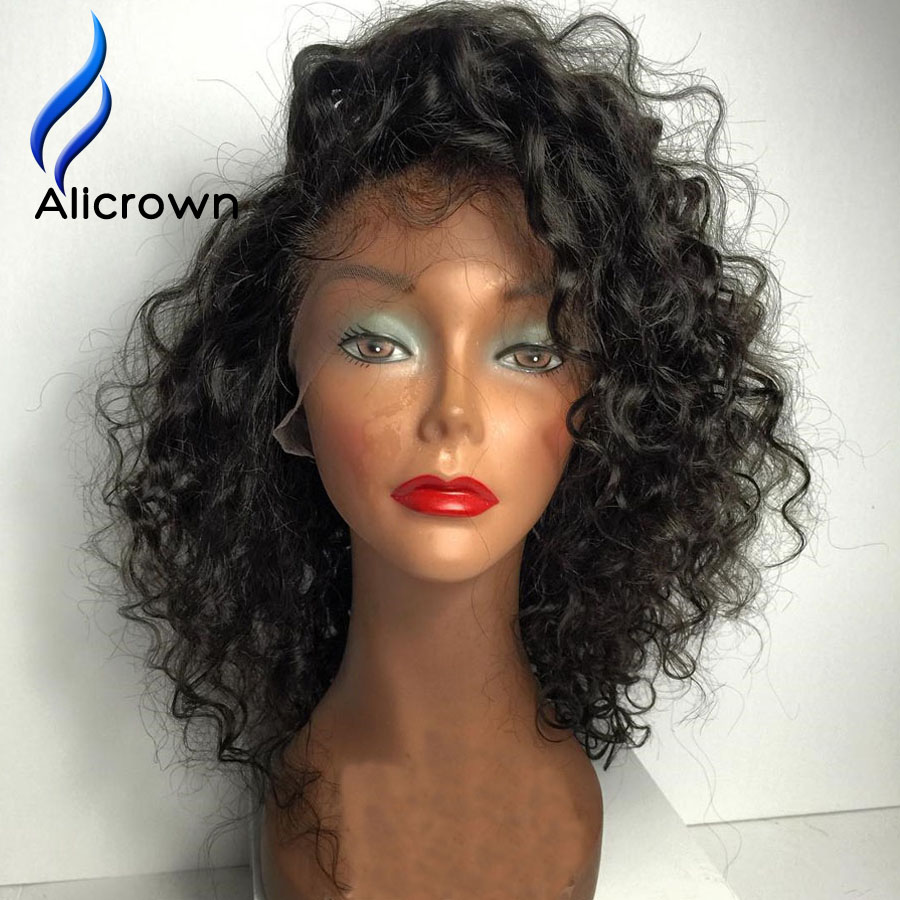 10a Brazilian Curly Full Lace Wigs Short Lace Front Wigs Human Hair