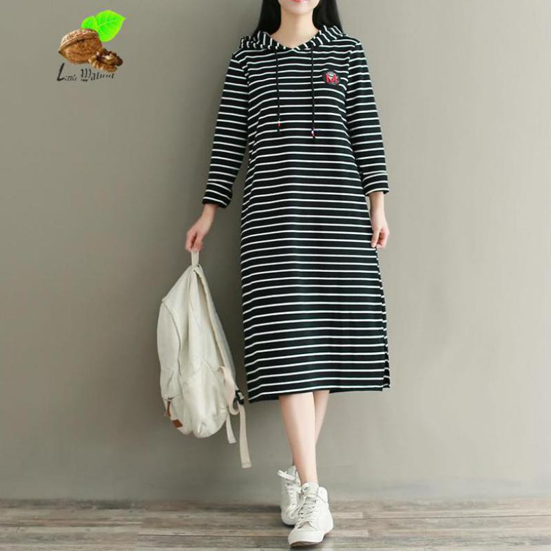 Mori Girls Vintage Retro Casual Striped Cotton Hooded Long-Sleeve Spring Dresses New Women Small Fresh Long Sweater Clothes