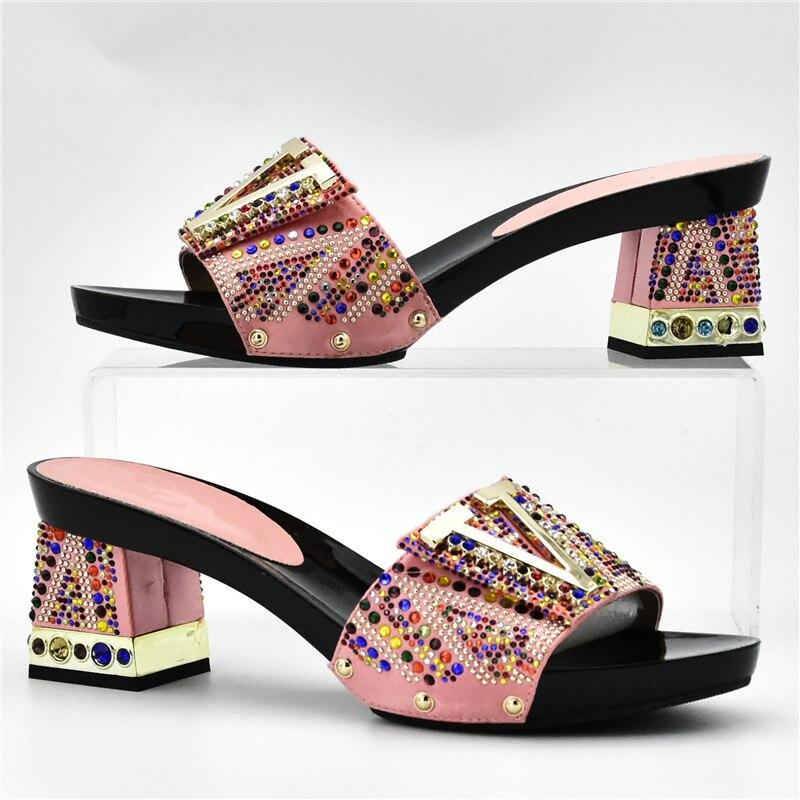 Las Decorado De Con Rhinestone Italiano Zapatos Bolsos rojo Negro Llegada dark Conjunto rosado Green Juego Nigeriano plata oro Nueva A Mujeres Bolsa Y Boda wpPqv6