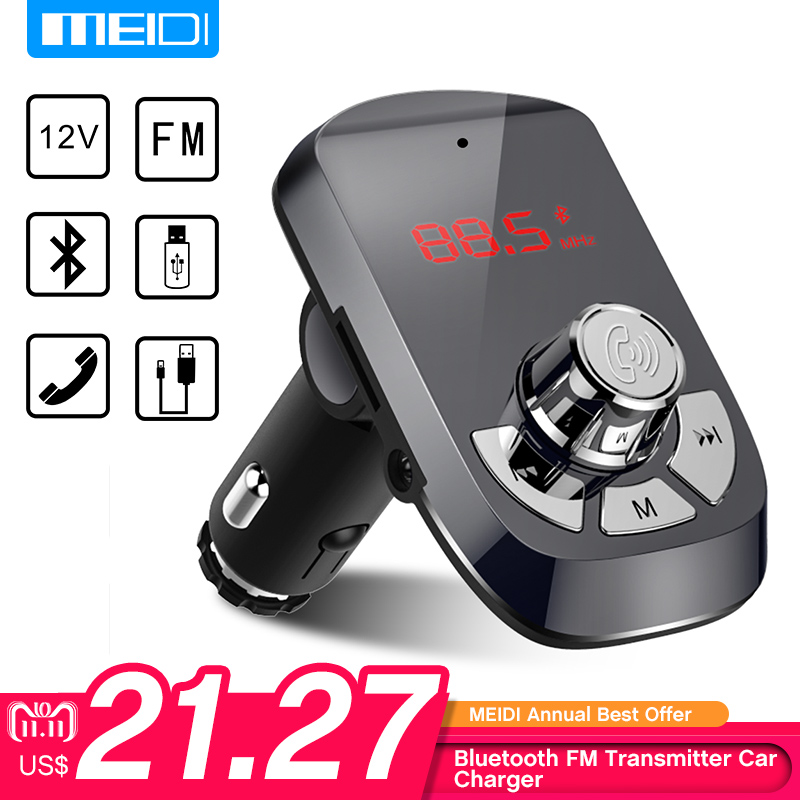 MEIDI FM Transmitter Car Charger Wireless Bluetooth Car Kit Hands Free MP3 Player Dual USB Car Charger AUX цены