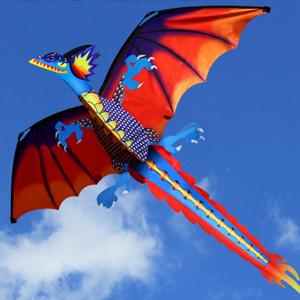 OOTDTY 3D Dragon Kite With Tail Flying Outdoor Kite Line