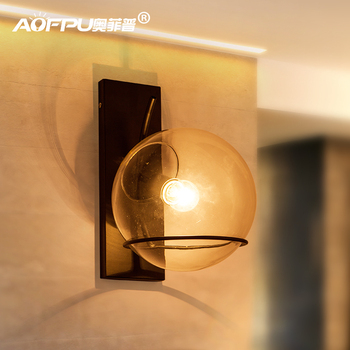 Loft Style Clear Glass Wall Lamp Black Metal Glass Ball Wall Light Bedroom Light Dining Room Light Free Shipping