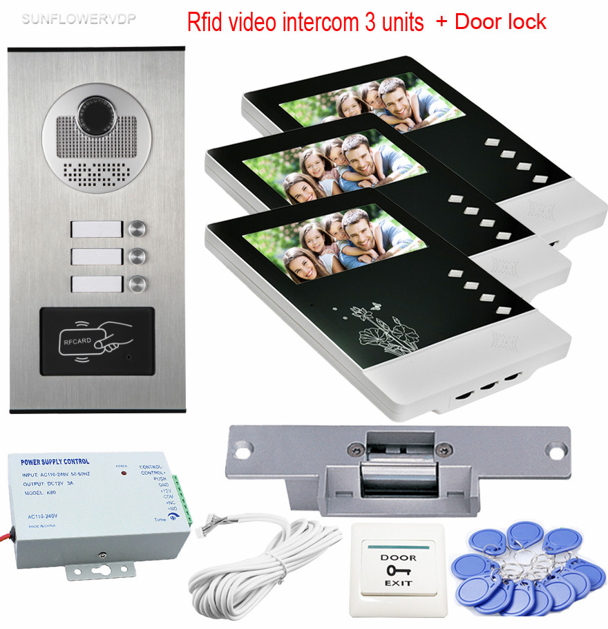 Video Intercom Rfid CCD Camera For 3 Apartments Home Video Door Phone 3 Monitors 4.3inchs With Electric Strike Lock System Unit