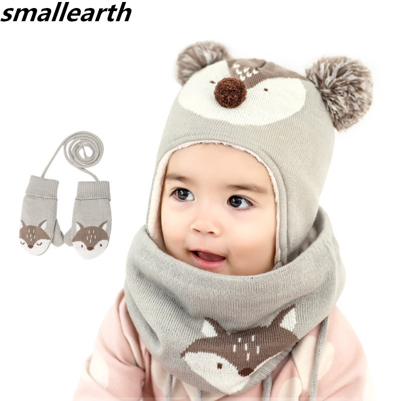 2019 New Winter Children Warm Thick Hat Scarf Glove 3pcs Set Fox Knitted Baby Kids Beanies Caps Neck Warmers Gloves For Boy Girl