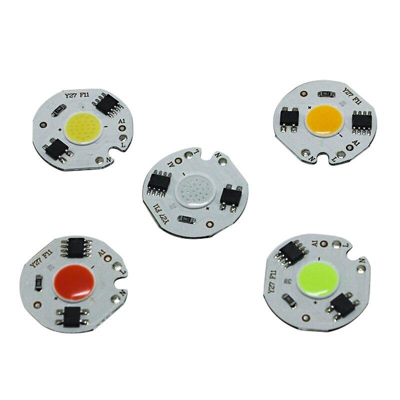 3W 5W 7W 10W 12W AC220V LED Lamp Chip Red Blue Green Cold White Led COB Smart IC Driver Fit For DIY LED Spotlight Floodlight