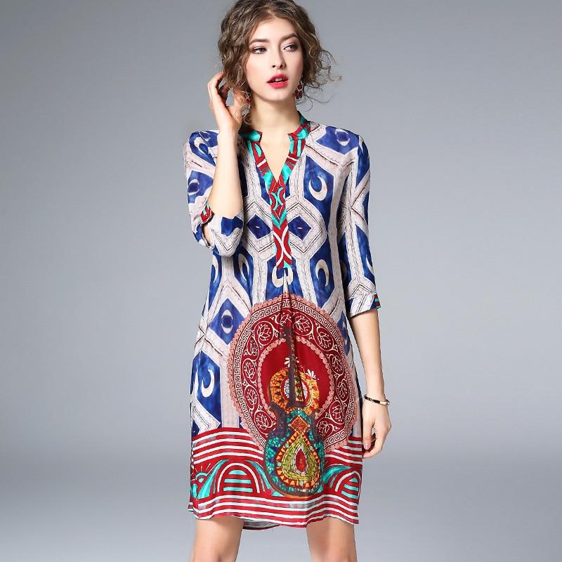 100% Silk Dress Women Printed V-neck Half-sleeves Lightweight Fabric Straight Casual Dress New Fashion Style 2018