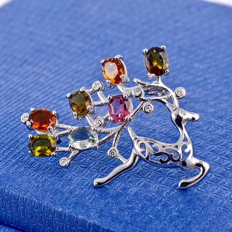 Natural multicolor tourmaline Lovely elk deer brooch S925 silver Natural gemstone brooch Pendant women girl gift jewelry chic rhinestone christmas deer shape brooch jewelry for women