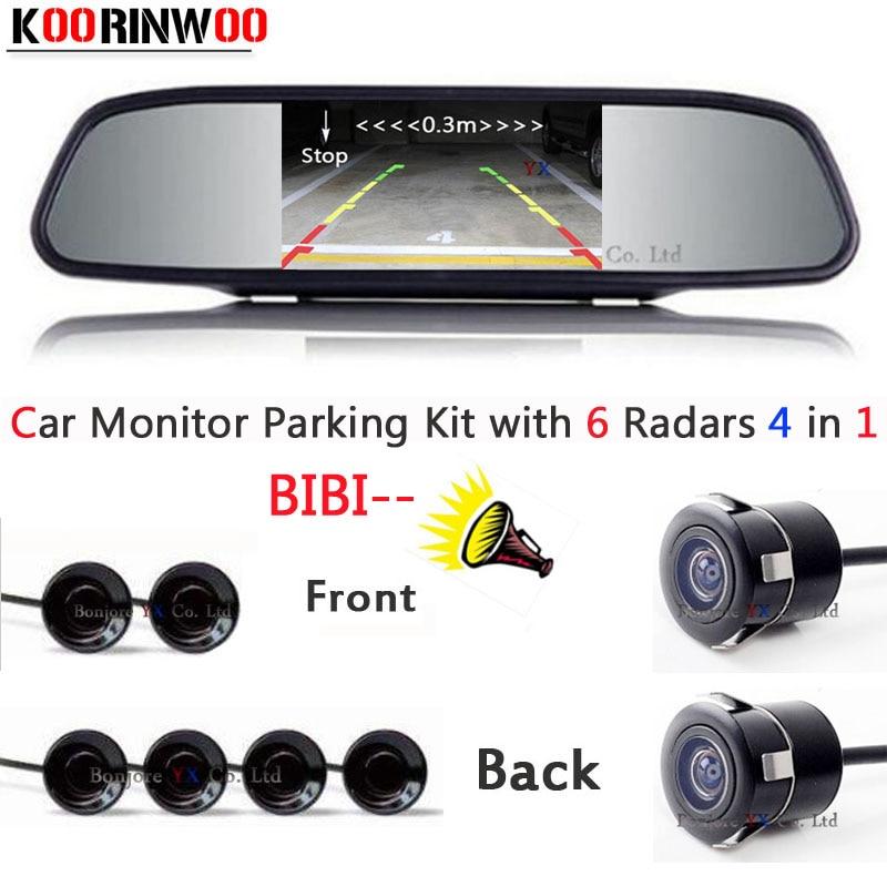 Auto parking Sensor 6 Video input Distance Radars car Front cmaera car Rear view camera Parktronic Car detector Monitor mirror koorinwoo car parking sensors 6 alarm
