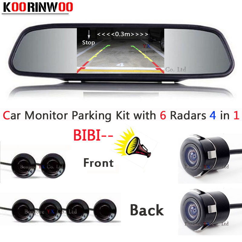 Auto parking Sensor 6 Video input Distance Radars car Front cmaera car Rear view camera Parktronic Car detector Monitor mirror