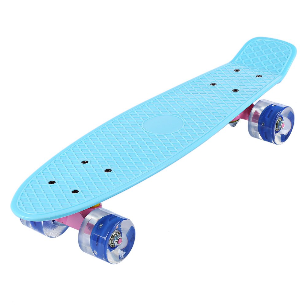 22 Inches Mini Cruiser Skate Board With LED Flashing Wheels Banana Style Long Board Pastel Color Fish Skateboard 5 Colors