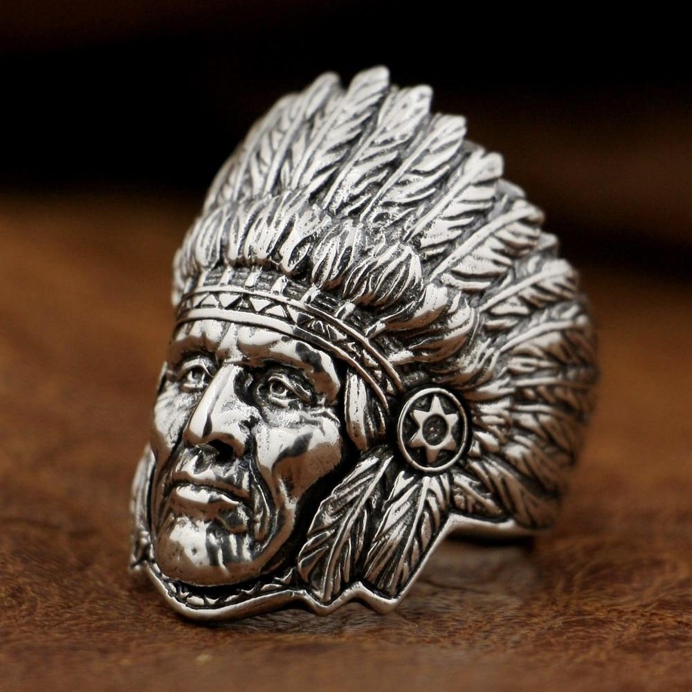 Takı ve Aksesuarları'ten Halkalar'de 925 Ayar Gümüş Hint Baş Yüzük Erkek Biker Rock Punk Yüzük TA89A ABD 7 ila 15'da  Grup 1
