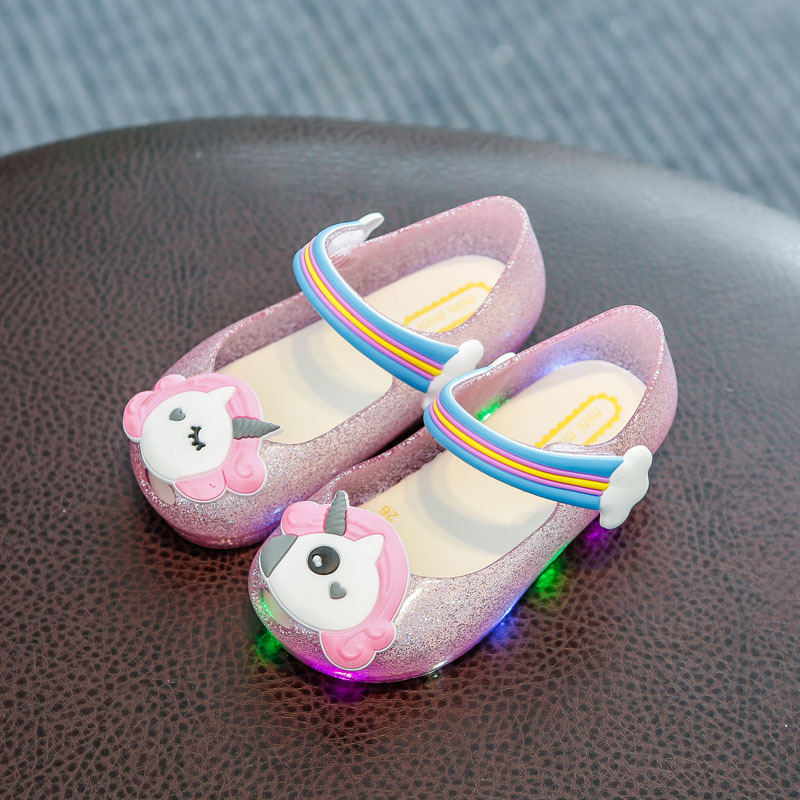 Toddler Baby Unicorn Shoes Slippers For Kids LED Flashing Light Powder Shoes Children's Shoes Fish Mouth Girls Sandals