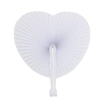 48 piezas ventilador papel blanco decoración boda fiesta regalo para los invitados aniversario boda bautizo fiesta DIY (corazón)