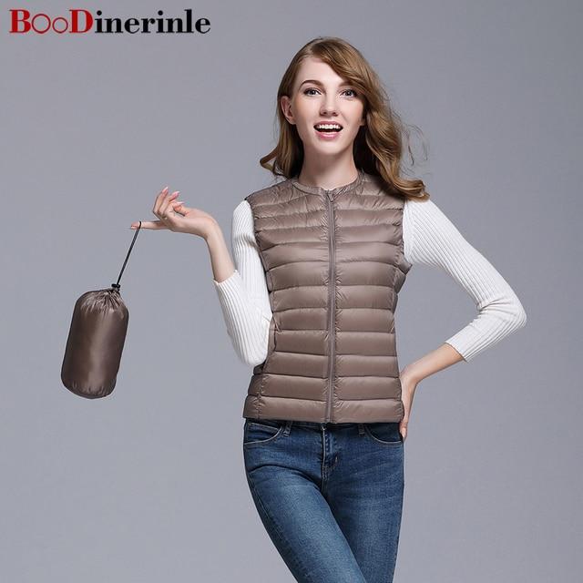 6c71c3e3e91 BOoDinerinle Plus Size Women light down jacket fashion vest hidden pocket  winter comfortable 8 colors parkas de pluma YR018-1