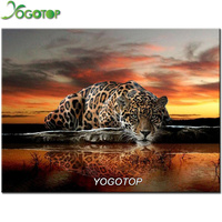 YOGOYOP 5D Diamond Embroidery Leopard DIY Diamond Painting Cross Stitch Square Drill Needlework Mosaic Decor Paintings