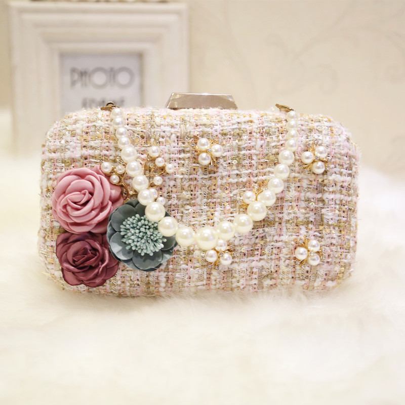 women's mini square bag decorated with flowers and pearls, designed for evening parties