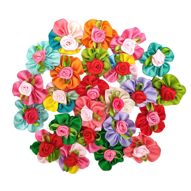 10pcs/lot Fashion Pet Dog Cat Bob Hair Bows Mix Color Rose New Lace Dog Hairpin Rubber Bands Handmade Boutique Gift