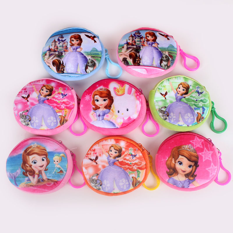 New Kawaii Cartoon Sofia The First Children Plush Coin Purse Zipper Change Purse Wallet Kids Girl Women For Gift With Keychain yiyohi hot sale kawaii cartoon spirited away children plush coin purse zip change purse wallet kids girl women for gift