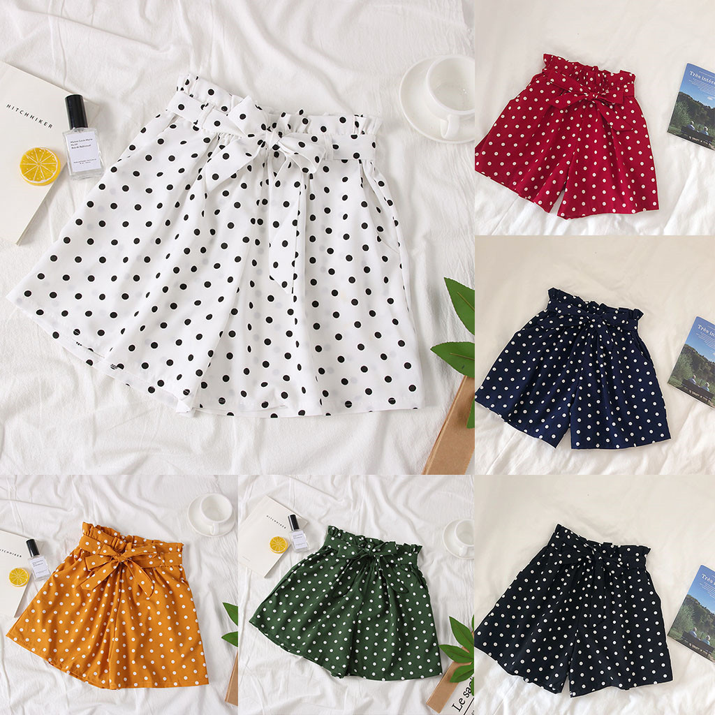 2019 NEW Women's Summer Polka Dot   Shorts   Lace Casual High Waist   Shorts   Beach Elasticity high quality W508