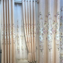 European-style elegant chenille embroidery curtain sitting room furniture luxurious European gauze shade adornment