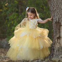 Yellow Tiered Ball Gowns For Princess Flower Girl Dress with Handmade Flower Appliques Pearls Open Back Custom Made Pageant Gow