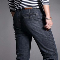 Autumn Black Jeans Mens Straight Trousers Fashion Male Jean Casual Long Trousers Man Denim Botton Plus Size 42