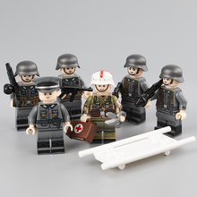 NEW 6pcs WW2 Military Army Soldier Figures Building Blocks German Medic Parts Weapon Helmet Accessories Bricks Toy for Children