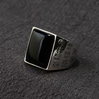 Real 925 Sterling Silver Mens Rings Engraved Different Notation Of Chinese Words Blessing Natural Onyx Stone Best Boyfriend Gift