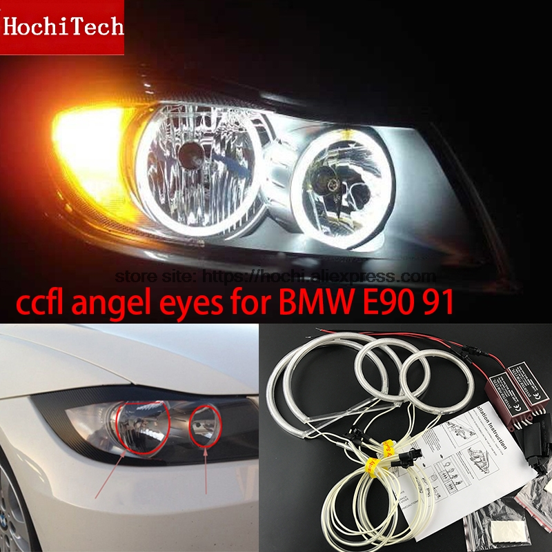 HochiTech WHITE 6000K CCFL Headlight Halo Angel Demon Eyes Kit angel eyes light For BMW 3 Series E90 E91 05-08 Halogen headlight
