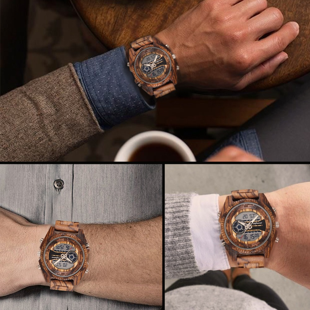 top luxury brand Shifenmei 2139 Antique Mens Zebra and Ebony Wood Watches with Double Display Business Watch in Wooden digital quartz watch drop shipping 2019 (16)