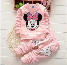 Menina Roupa do bebê 2017 Quente Mickey Dos Desenhos Animados Manga Comprida Tops T-shirts Calças 2 pcs Outfits Crianças Bebes Fatos de Jogging Ternos