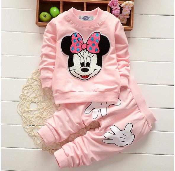 Baby Girl Clothes 2017 Hot Mickey Cartoon Long Sleeved Tops T-shirts Pants 2PCS Outfits Kids Bebes Tracksuits Jogging Suits