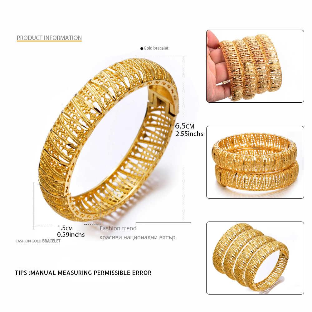 WANDO 4 יח'\חבילה האתיופית זהב צבע צמיד לנשים דובאי הכלה חתונת צמיד אפריקאית הערבי תכשיטי מזרח התיכון b168